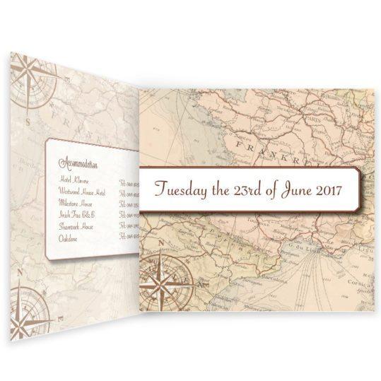 Around the world travel inspired wedding invitation - tri-fold-inside