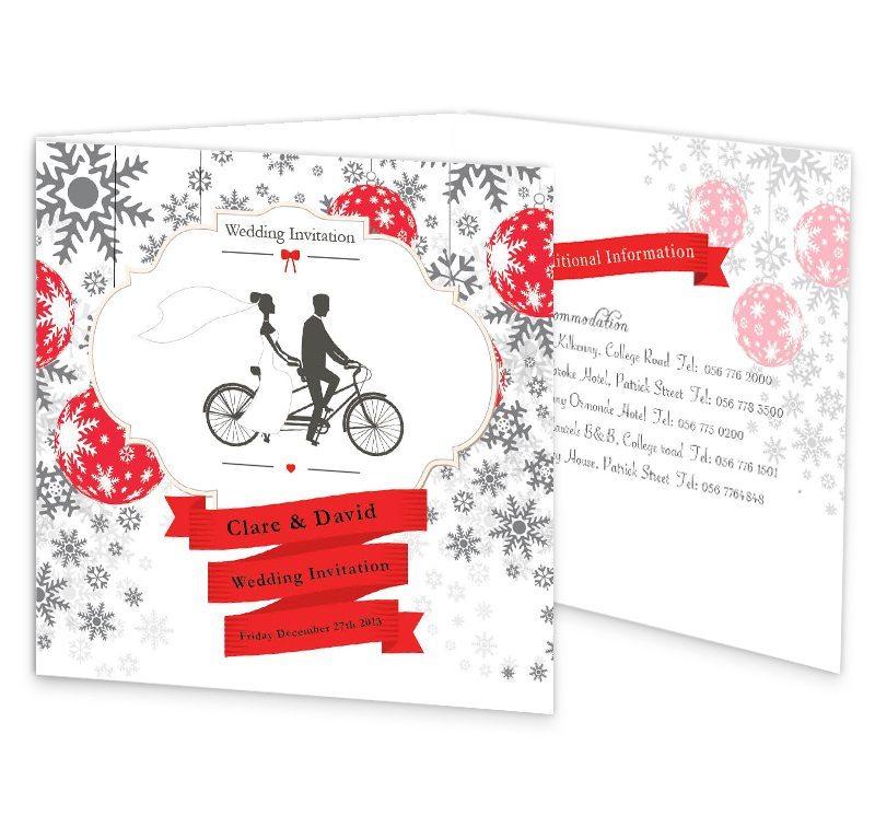 Christmas Tandem Couple Tri Fold Wedding Invite Loving Invitations
