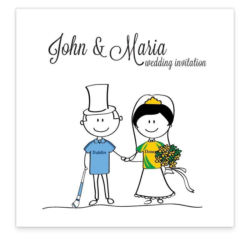 GAA Flat wedding invitation - Donegal vs Dublin - Loving Invitations