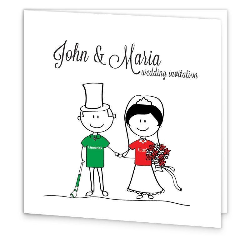 GAA Folding Wedding Invitation - Limerick vs Cork - Loving Invitations