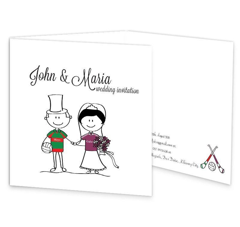 gaa tri fold wedding invitation mayo vs galway sample loving