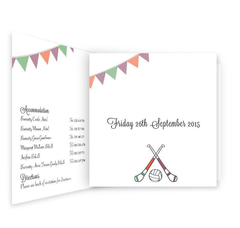 GAA Tri-fold Wedding Invitation - Mayo vs Galway - Loving Invitations