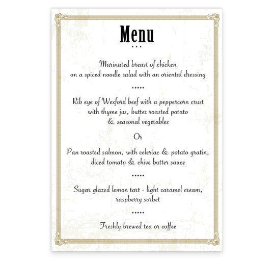 L'amour menu back