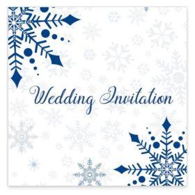 Snowflake flat wedding invitation