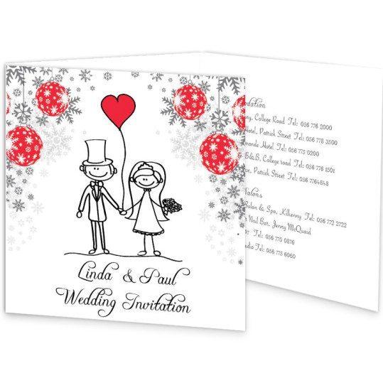 Stick couple xmas Tri-Fold Invite