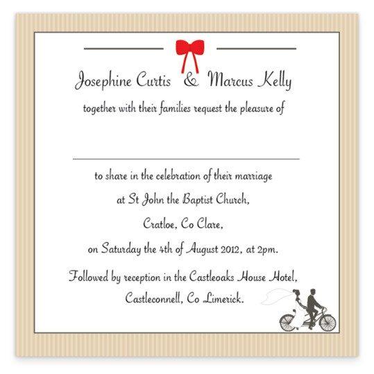 Tandem Couple Flat Wedding Invite Loving Invitations