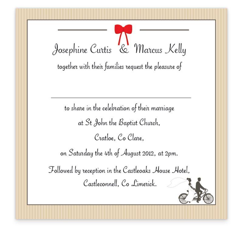 Tandem Couple Flat Wedding Invite - Loving Invitations