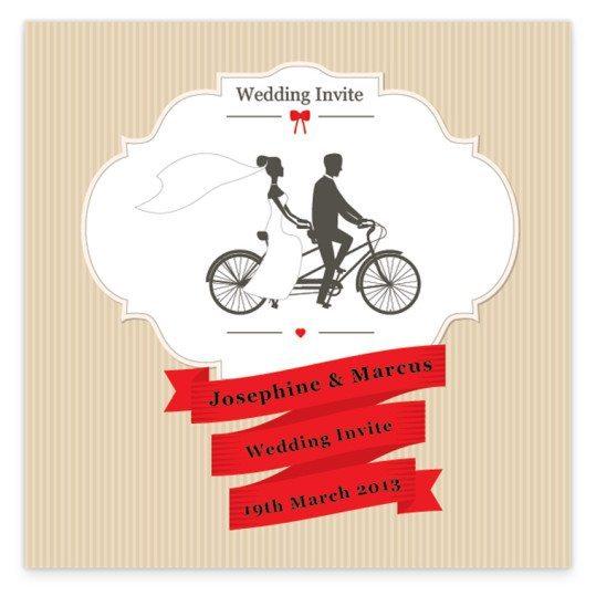Flat Wedding Invitations: Tandem Couple Flat Wedding Invite