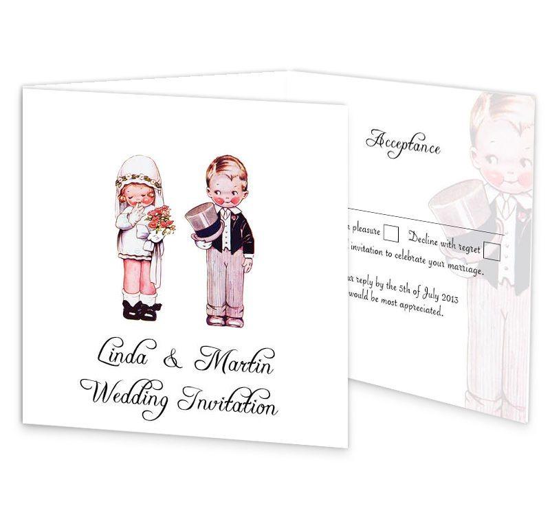 Wedded Children Tri-fold wedding invite & rsvp - Loving Invitations