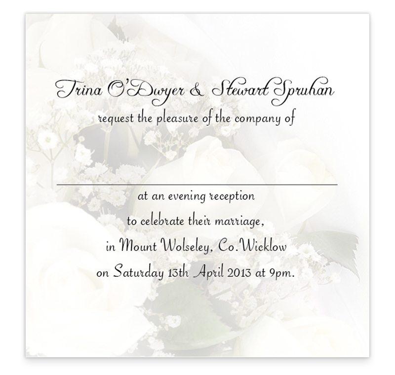 Wedding Bands and Flowers Evening Invitation - Loving Invitations