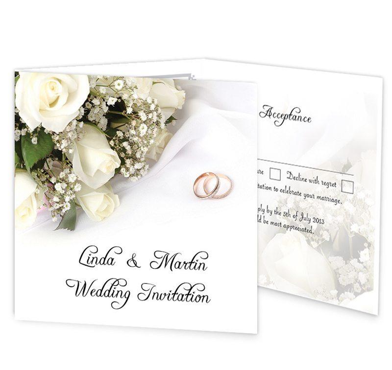wedding bands and flowers tri fold wedding invite rsvp loving