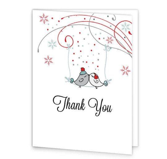 Winter Romance wedding thank you card