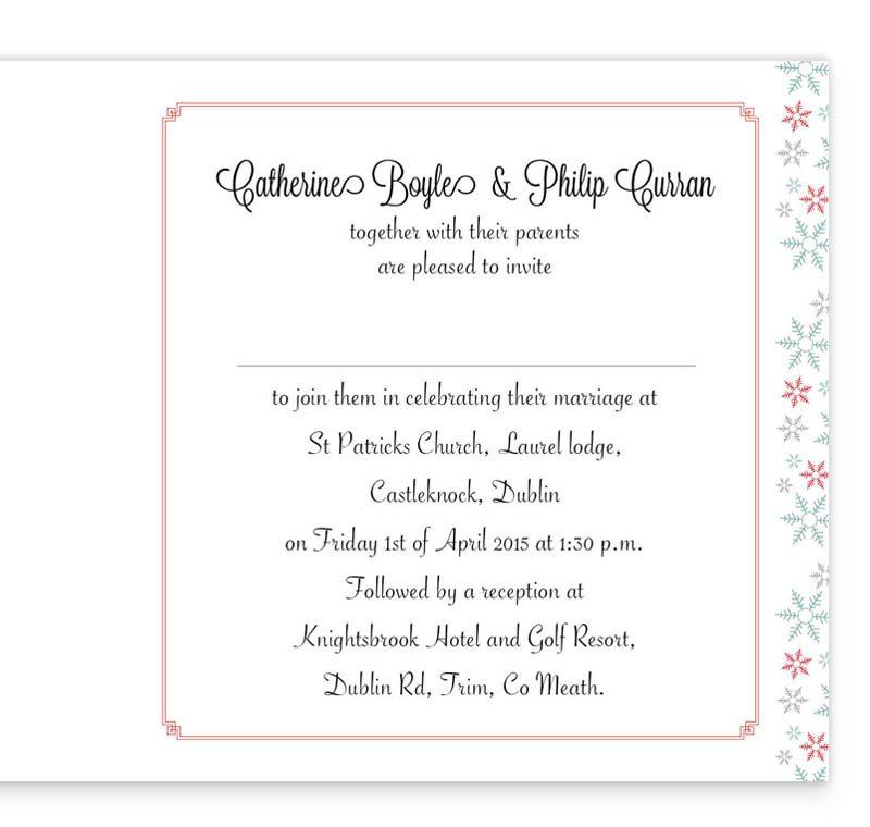 Winter Romance Folding Wedding Invitation Inside
