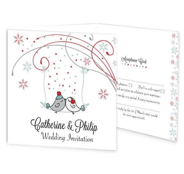 Winter Romance tri-fold wedding invite with rsvp