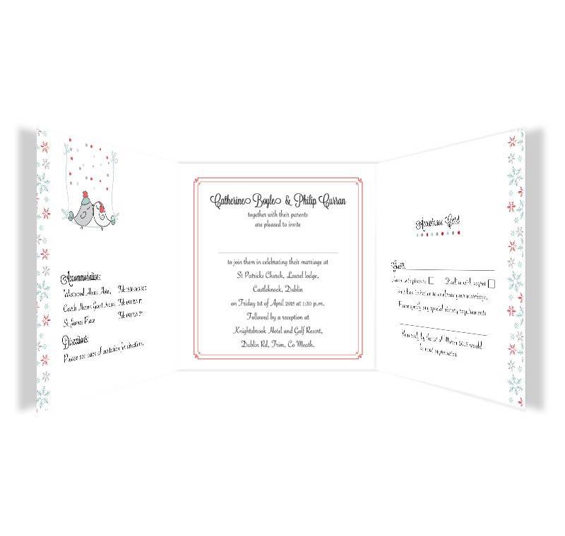winter romance tri fold wedding invitation rsvp loving invitations