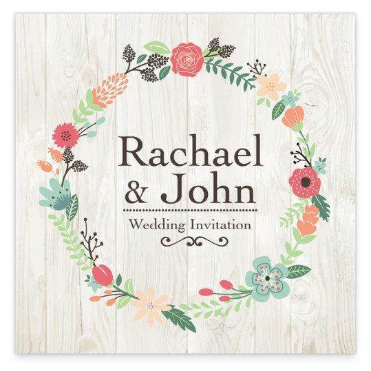 Rustic Romance Flat wedding Invite