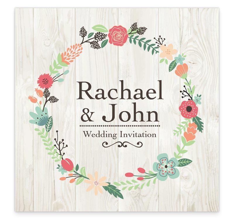 Flat Wedding Invitations: Rustic Romance Flat Wedding Invitation