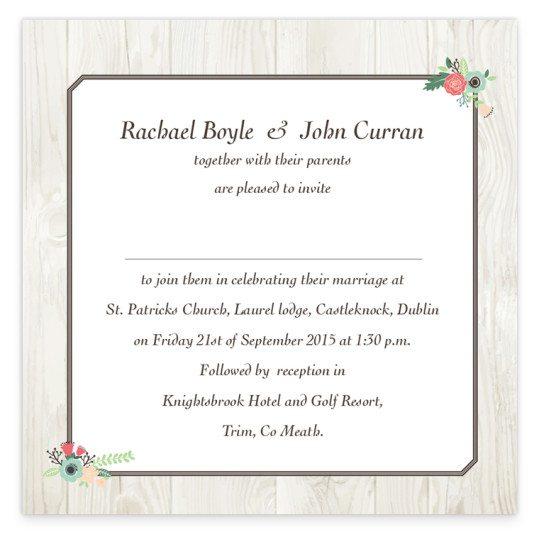 Rustic Romance Flat wedding Invite_back
