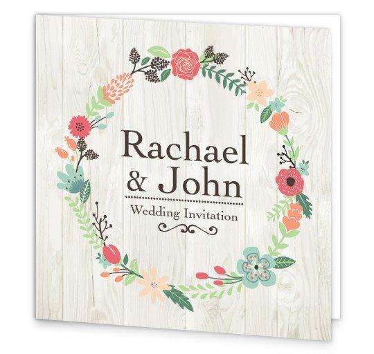 Rustic Romance Folding Wedding Invite