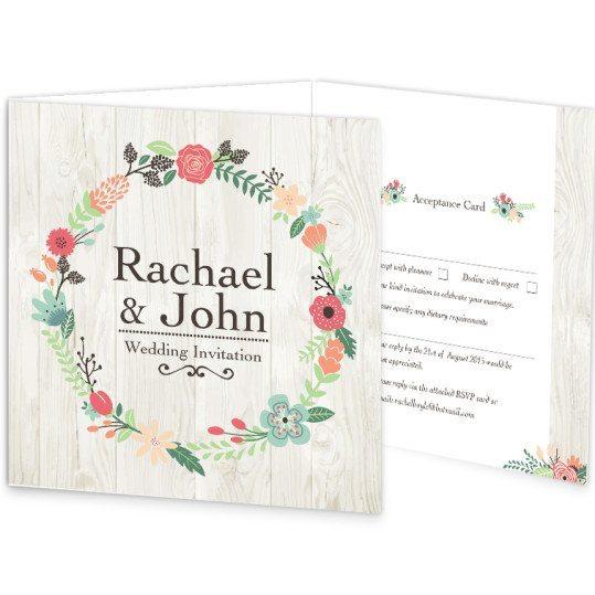 Rustic Romance Tri-fold w RSVP wedding Invite