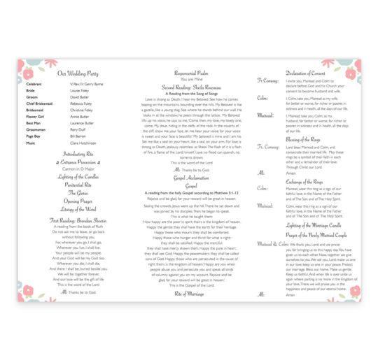 Sweetness & light Wedding Ceremeony Pamphlet__front_3