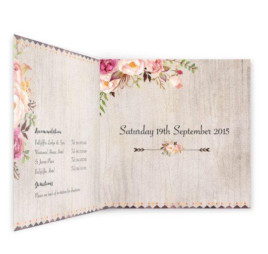 Flowering Affection Tri-fold wedding Invite inside