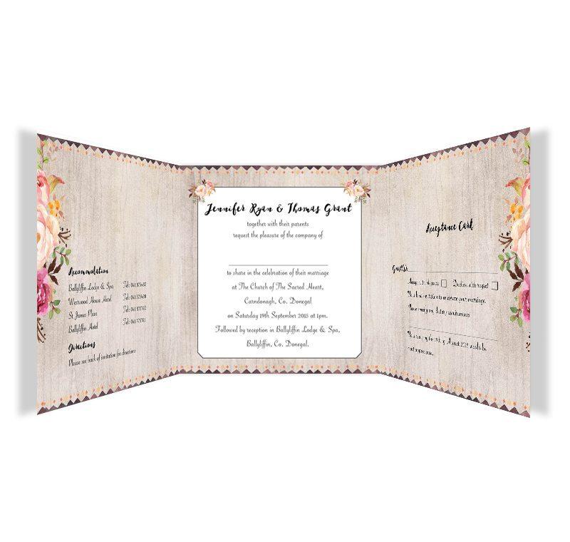 Flowering Affection Tri Fold W Rsvpn Wedding Invitation Inside