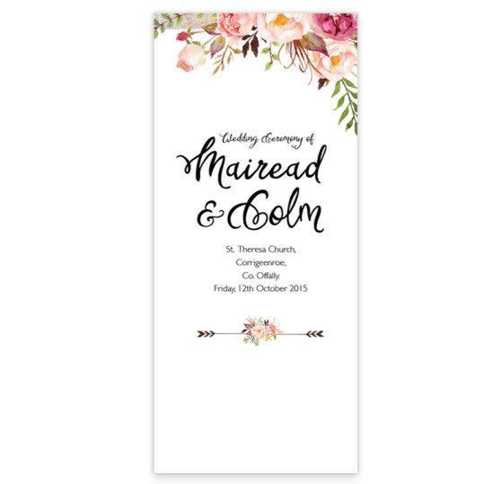 Flowering Affection tri-fold ceremony pamphlet front