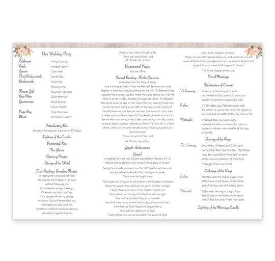 Flowering Affection tri-fold ceremony pamphlet inside