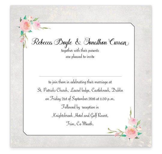 Floral Beauty Flat Invite back wedding invitation
