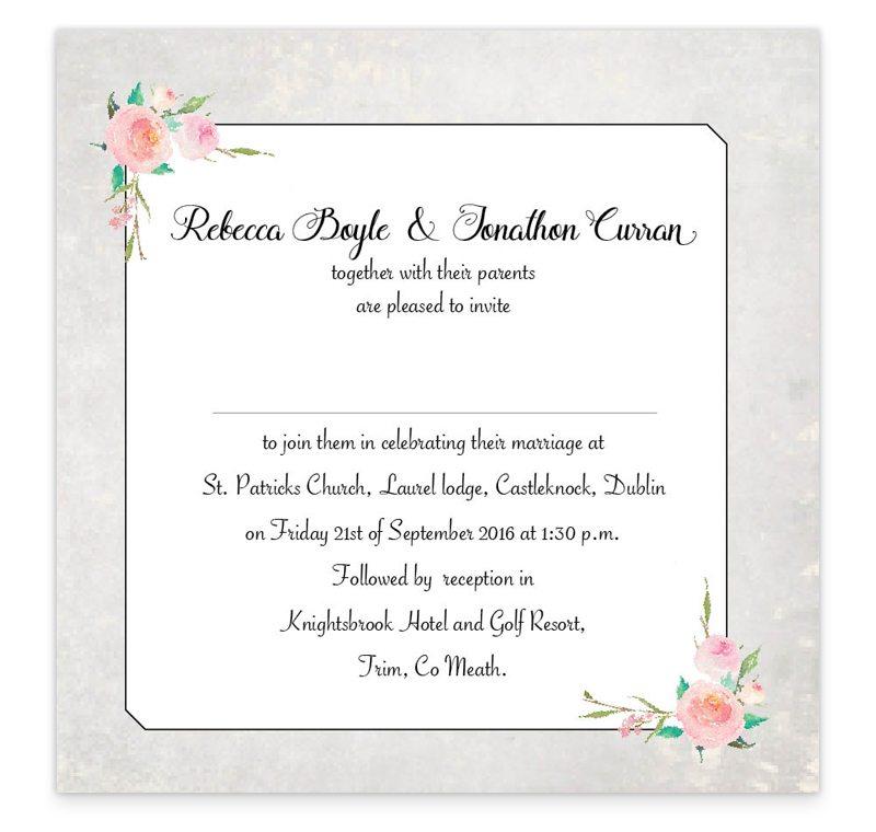 Flat Wedding Invitations: Floral Beauty Flat Wedding Invitation
