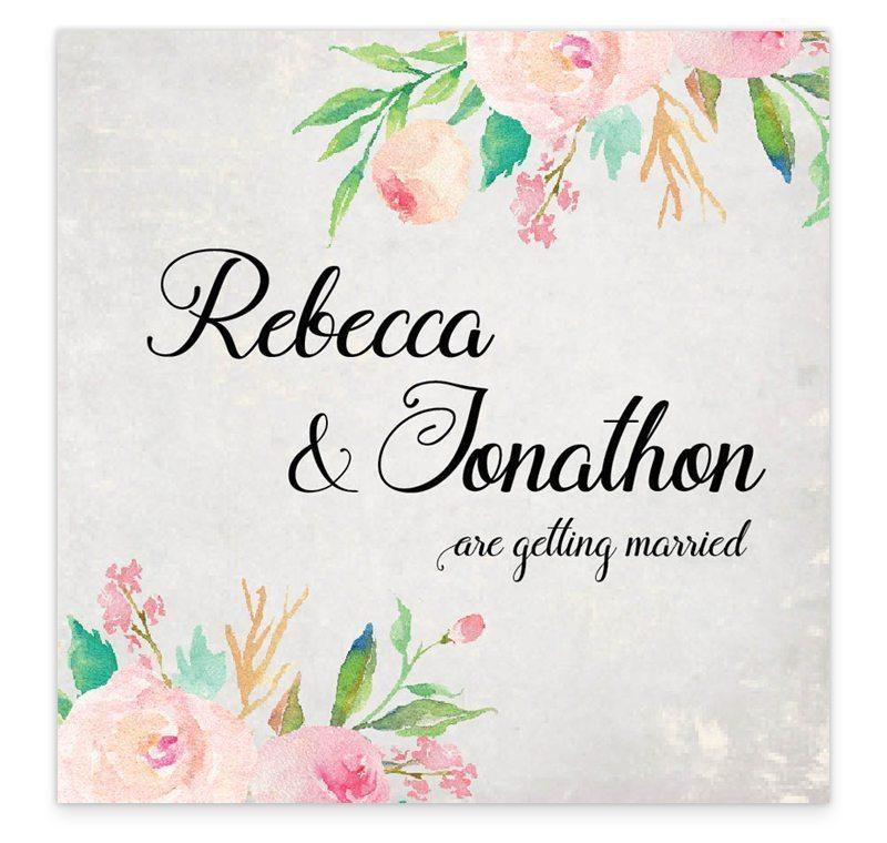 Flat Wedding Invitations: Floral Beauty Flat Wedding Invitation Sample