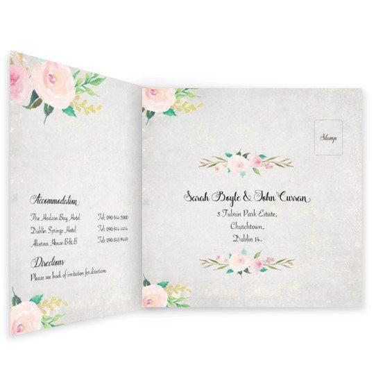 Floral Beauty Tri-Fold Invite w rsvp_inside wedding invitation