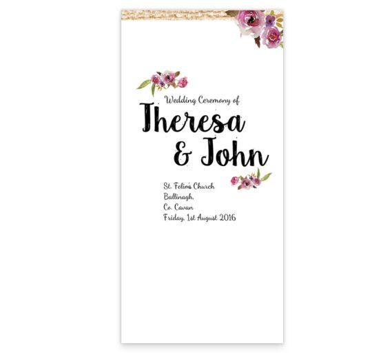 Antique Floral wedding Ceremony pamphlet