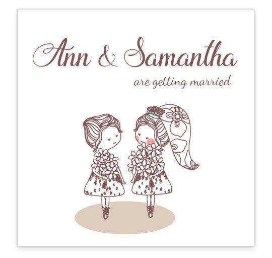 Same Sex wedding invitation - flat invite - women -front