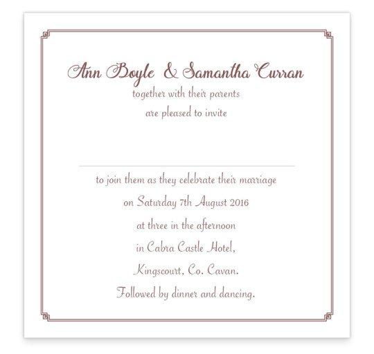 Same Sex wedding invitation - flat invite - women