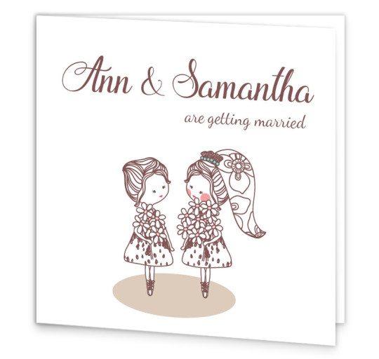 Same Sex wedding invitation - folding Mrs