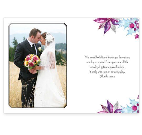 Merry and Light Christmas Wedding Thank You Card_back