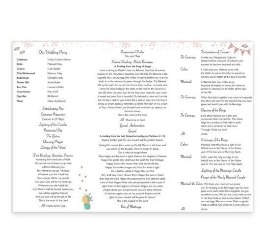 Midsummer Dream Wedding Ceremeony Pamphlet_inside