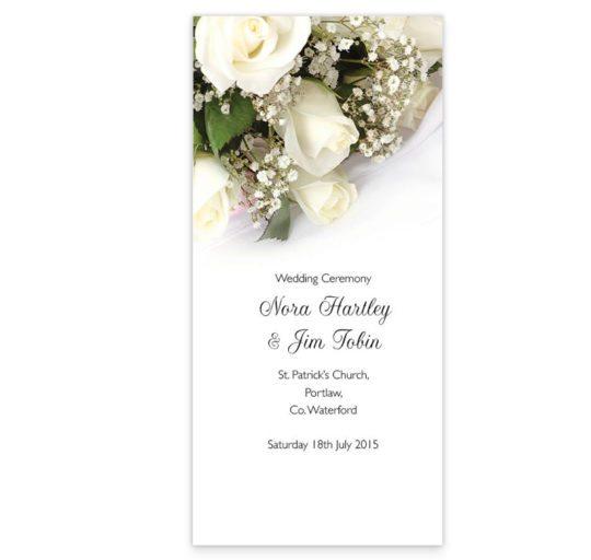 Wedding bands & flowers wedding ceremony pamphlet