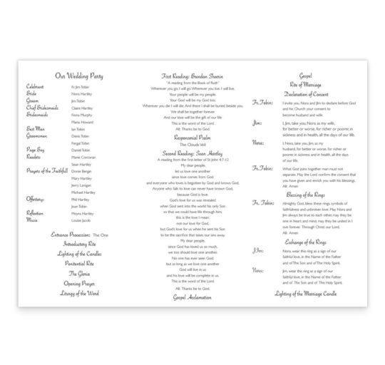 Wedding bands & flowers wedding ceremony pamphlet_back