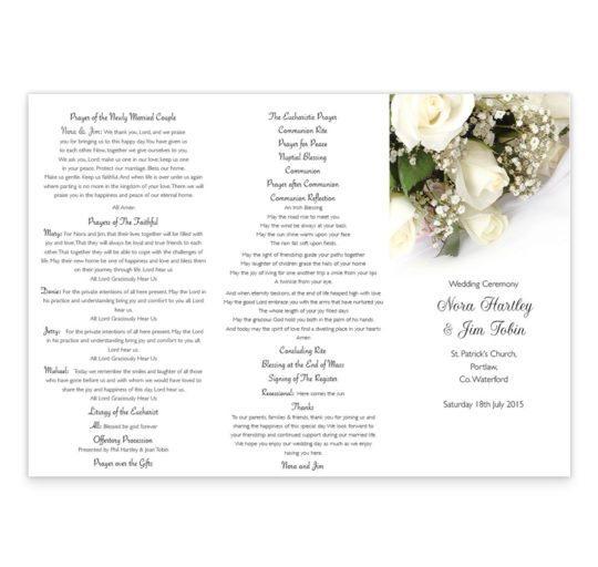 Wedding bands & flowers wedding ceremony pamphlet_front