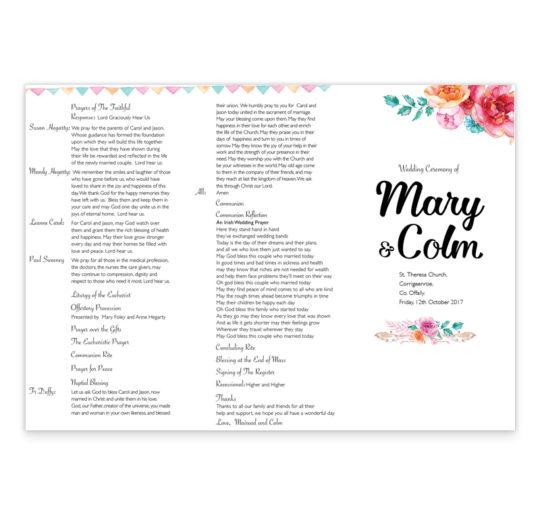 boho-chic-wedding ceremeony-pamphlet