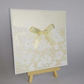 Floral laser cut wedding invite