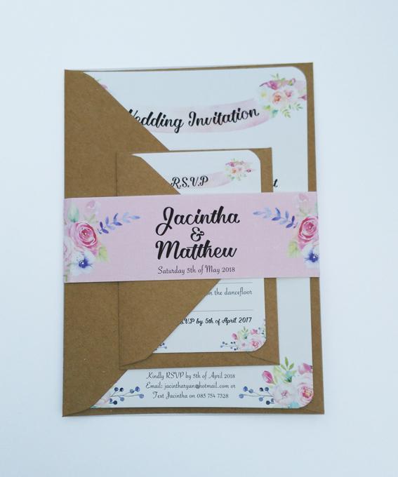 Summer blossom weddig invitaiton with envelope