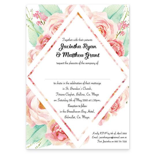 Summer Rose wedding invitation_no band