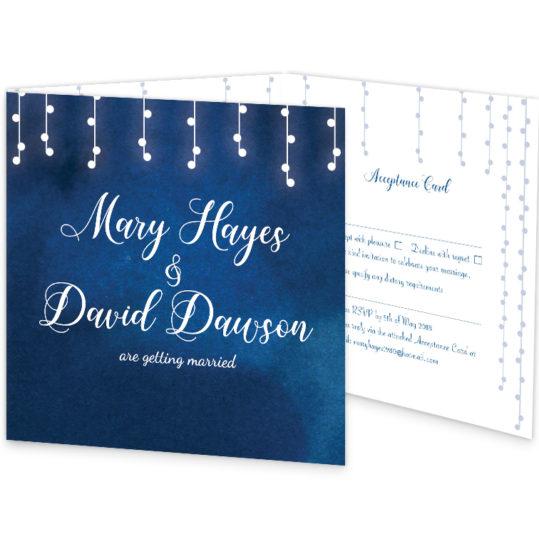 Starry Night Tri-fold wedding invitation with rsvp