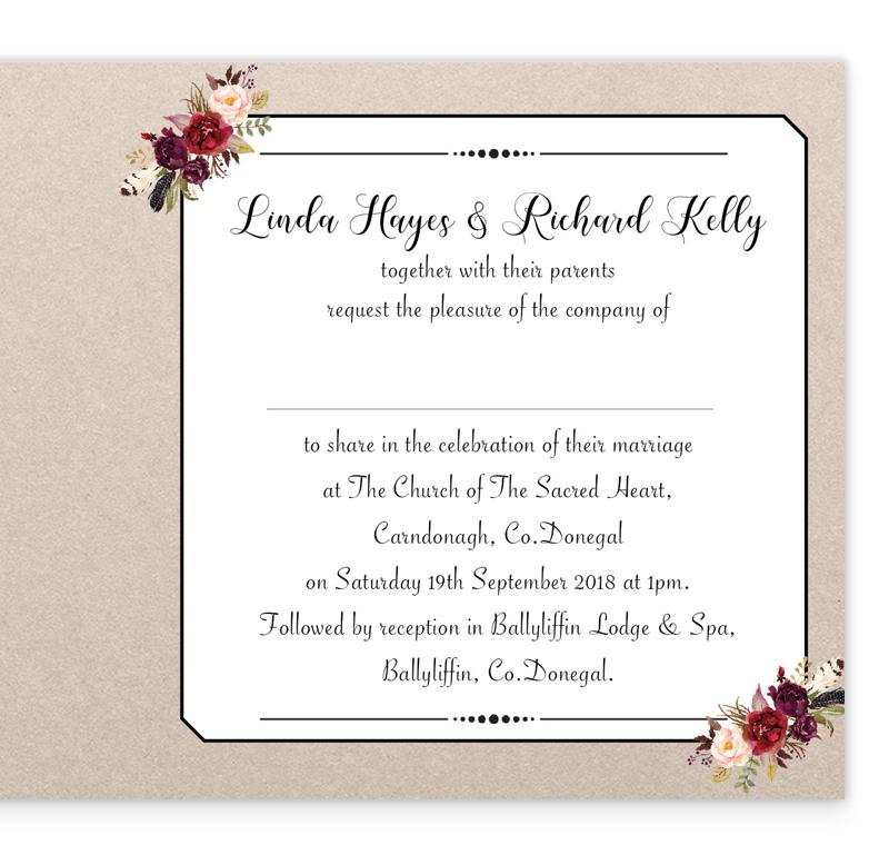 Burgundy Boho Folding Wedding Invitation | Loving Invitations