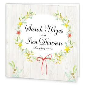 Shimmering Garland Folding Wedding Invite front