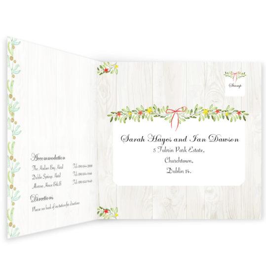 Shimmering Garland Wedding Invitation Tri-fold w rsvp_front